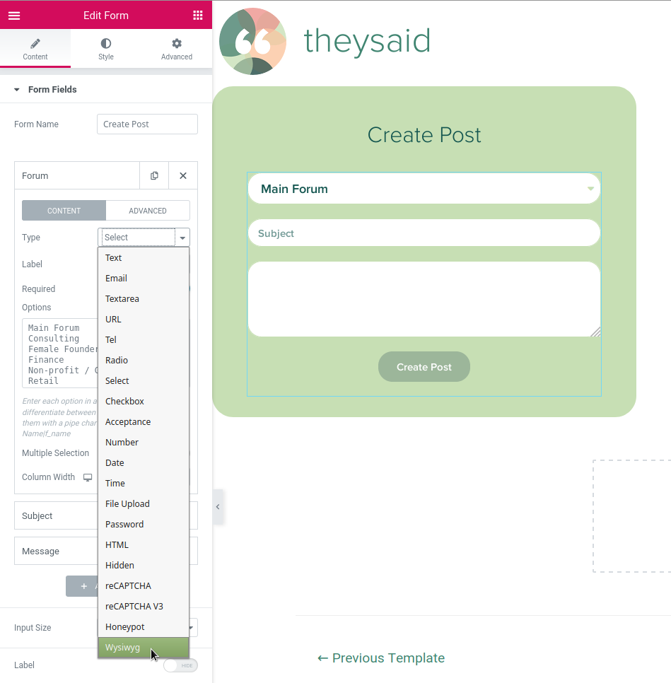 Add WYSIWYG (TinyMCE) field type to Elementor forms | Elementor forms, php, wysiwyg-field-type